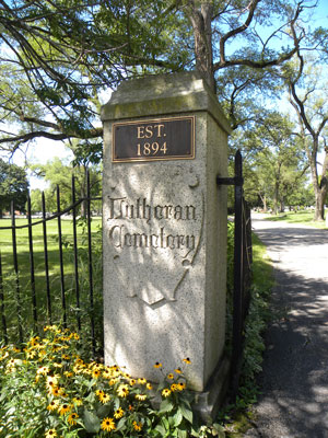 Lutheran Cemetery - front post - A Cemetery Of All Faiths